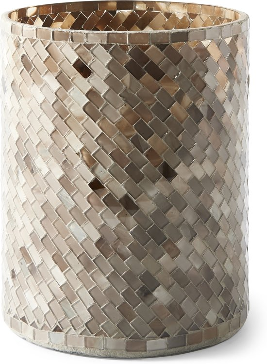 Rivièra Maison Magic Mosaic Hurricane brown - L - Windlicht - Glas - Bruin