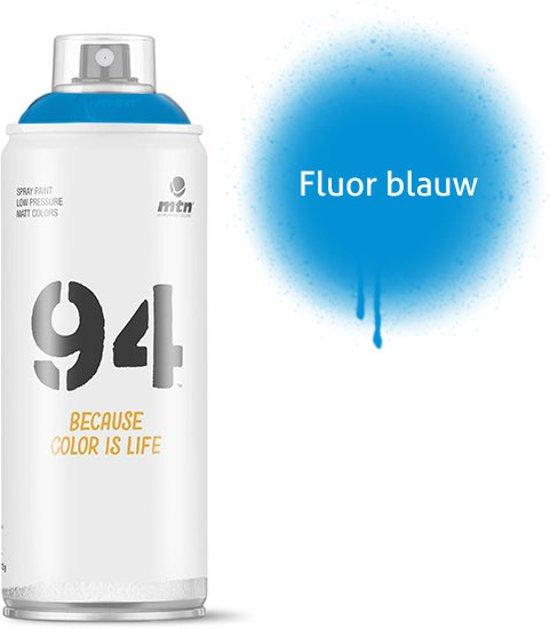 MTN94 Fluoriserend blauwe spuitbus - 400ml lage druk en matte afwerking spuitverf - Graffiti verf voor vele doeleinden zoals voor diy, klussen, graffiti, hobby en kunst