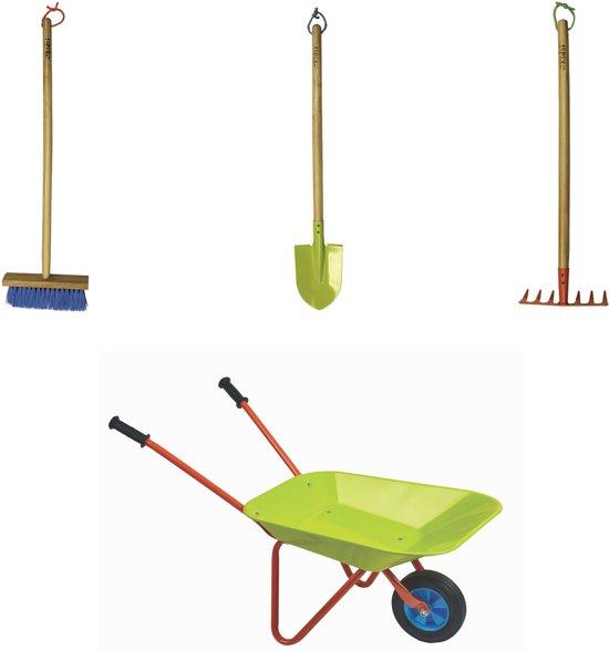 Set 7: hark, bezem, schep, kruiwagen voor kinderen
