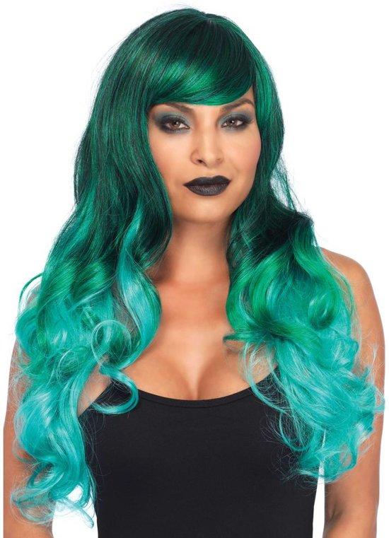 Jewel ombre lange golvende pruik groen - Kostuum Party - Leg Avenue