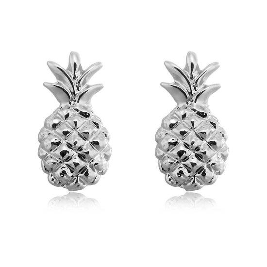 Lovelymusthaves Ananas pineapple hippe Oorbellen - Dames - zilverkleurig