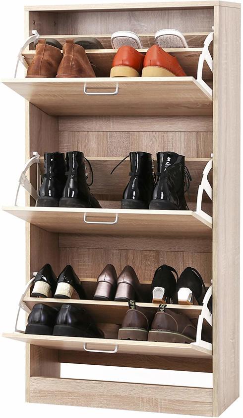 Schoenen Kast Met 3 Klapdeuren Gesloten Kast Voor Schoenen 120 Cm Hoog En 60 Cm Breed Natuurlijk Hout