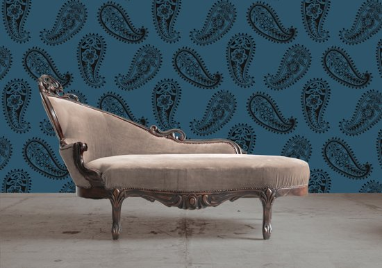 Dutch Wallcoverings Vliesbehang paisley - petrol/grijs