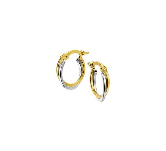 The Jewelry Collection Oorringen 2,5 mm Vierkante Buis - Bicolor Goud