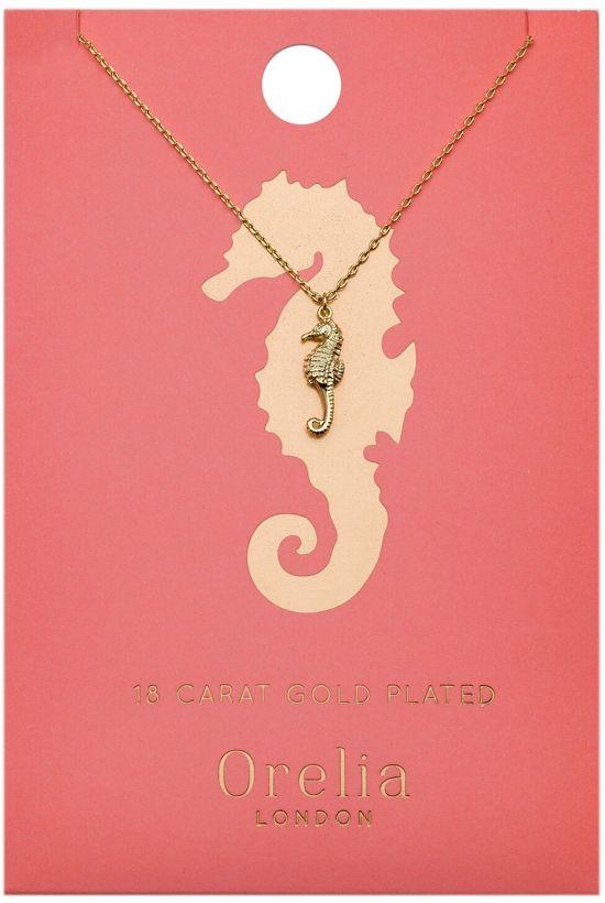 Orelia kettinkje kort met zeepaard bedel - plated - 40,5 cm + 5 cm verlengstuk + 1,5 cm bedel