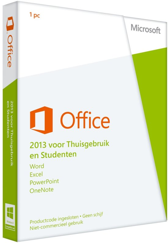 Office Home and Student 2013 32-bit/x64English 1 License Eurozone Medialess