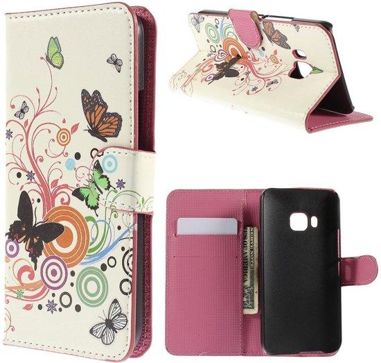 HTC One M9 Hoesje Vlinders met Opbergvakjes in Tiengeboden