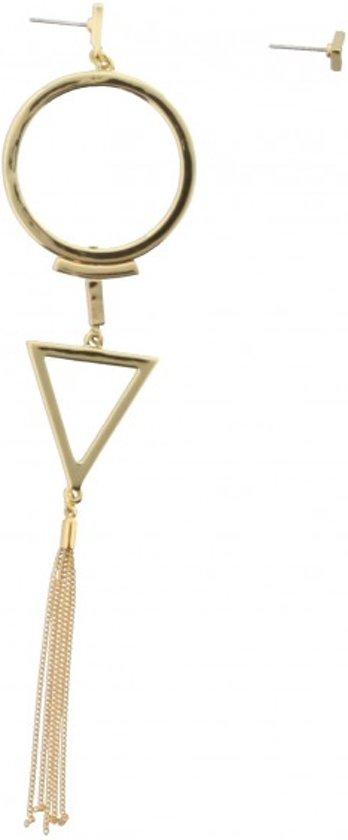 Gouden oorbel met cirkel en driehoek aan een kant. Lang gouden flosje aan de onderkant bij 1 oorbel. 16 x 3,5 cm.