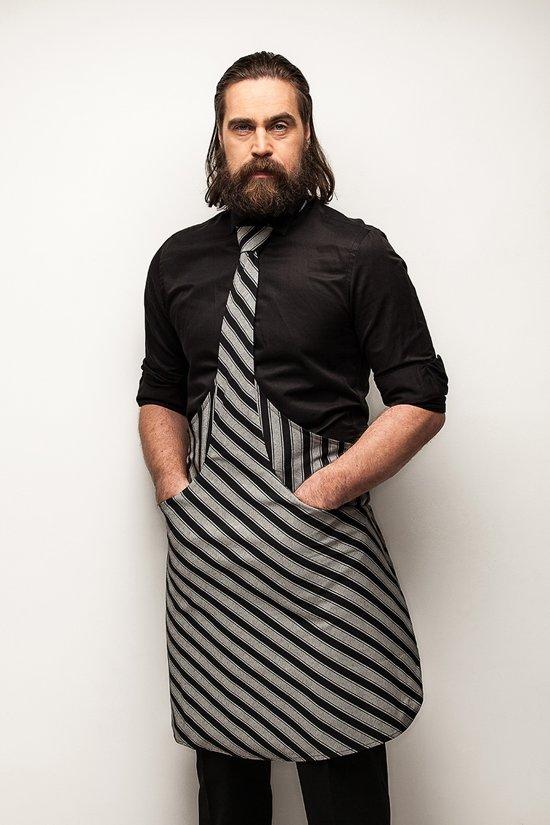 Tie & Apron Stropdas Schort Chef Zwart-Grijs Gestreept