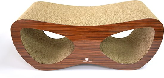 4animalz Lounge Walnut - kartonnen krabpaal voor katten -  69x24x29cm