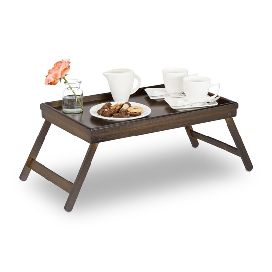 relaxdays bedtafel bamboe bruin - dienbladtafel - dienblad op pootjes - klapbaar - op bed