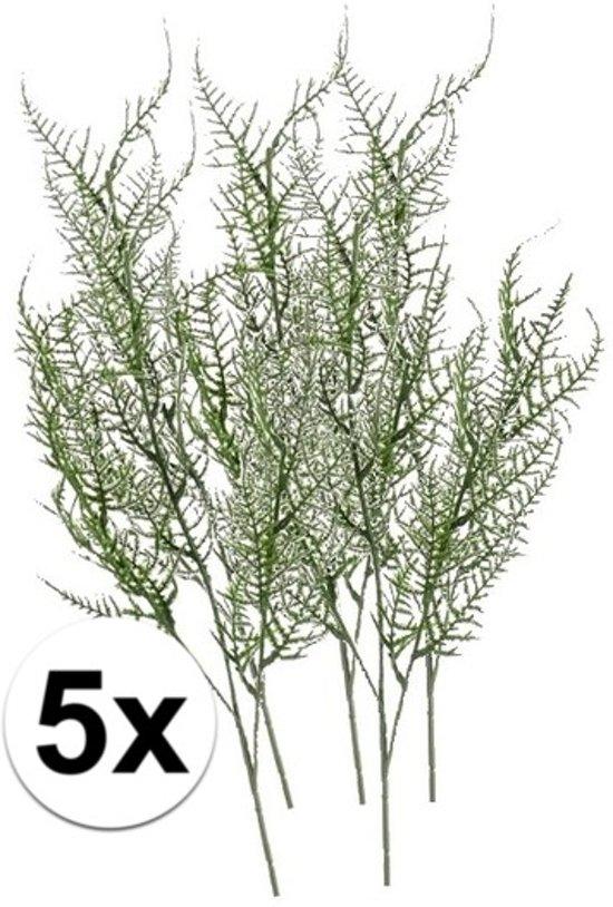 5x Groene kunst Asparagus tak 73 cm  - Kunstbloemen