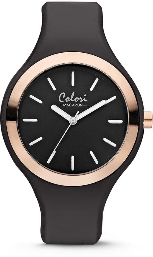 Colori Macaron 5 COL429 Horloge - Siliconen Band - Ø 44 mm - Zwart / Rosékleurig