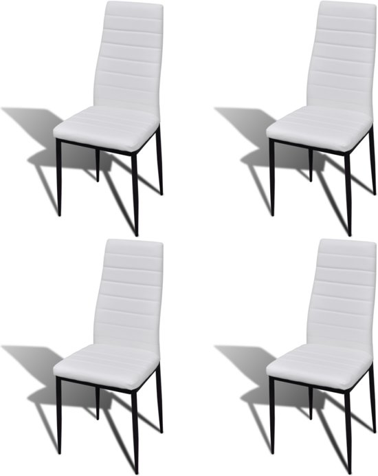 Vier Witte Eetkamerstoelen.Bol Com Eetkamerset 4 Witte Slim Line Stoelen En 1 Glazen Tafel