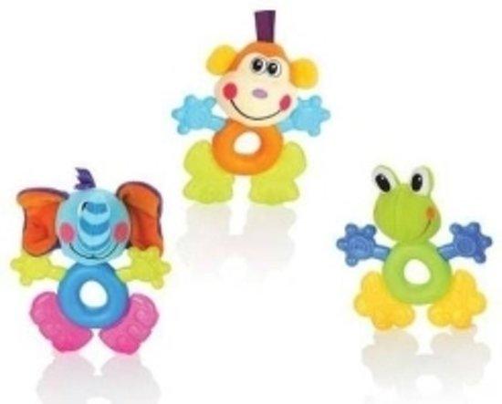 3 in 1 : Bijtring - rammelaar - pluche speelgoedje kikker, olifant en krokodil