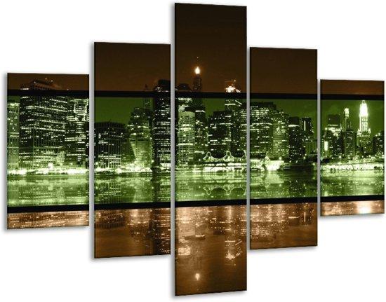 Glasschilderij Steden | Groen, Bruin | 100x70cm 5Luik | Foto print op Glas |  F004439
