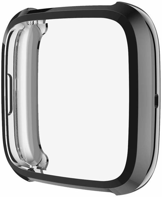 Full Cover Bumper voor Fitbit Versa 2 – Siliconen Case Screenprotector Bescherming Hoesje – Zwart