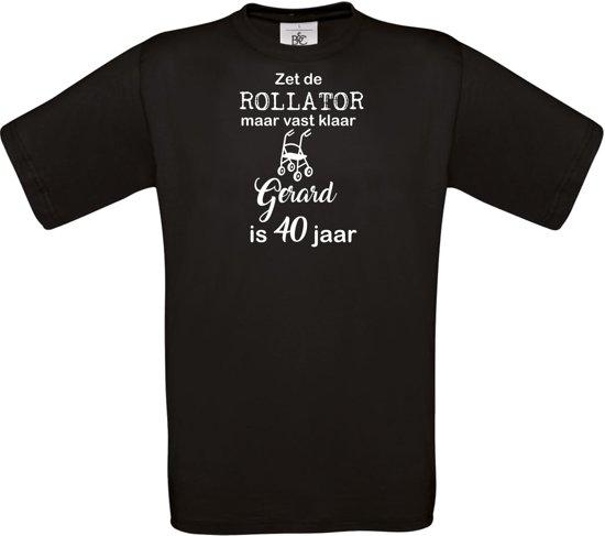 T-shirt - unisex - Zet de rollator maar vast klaar - met voornaam - 40 jaar - zwart - maat 3XL
