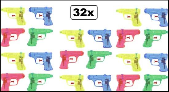 32x Waterpistooltjes 11cm 4 kleuren