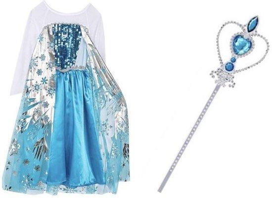 Elsa verkleedjurk maat 116/122 + gratis staf - prinsessen jurk (labelmaat 130)