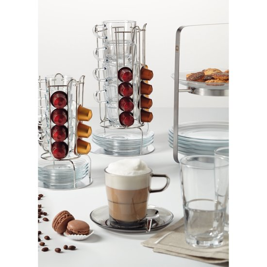 Leonardo Espressokop en Schotel 4 st. + Stand