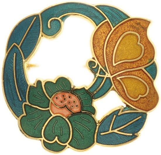 Behave® Dames Broche rond met bloem en vlinder blauw groen emaille 4 cm