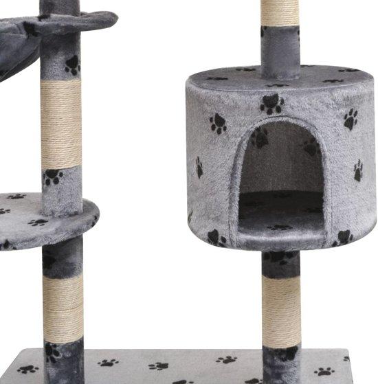 vidaXL Kattenkrabpaal met sisal krabpalen 125 cm pootafdrukken grijs