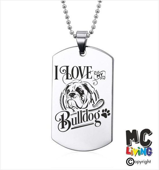 Ketting RVS - I Love My Bulldog