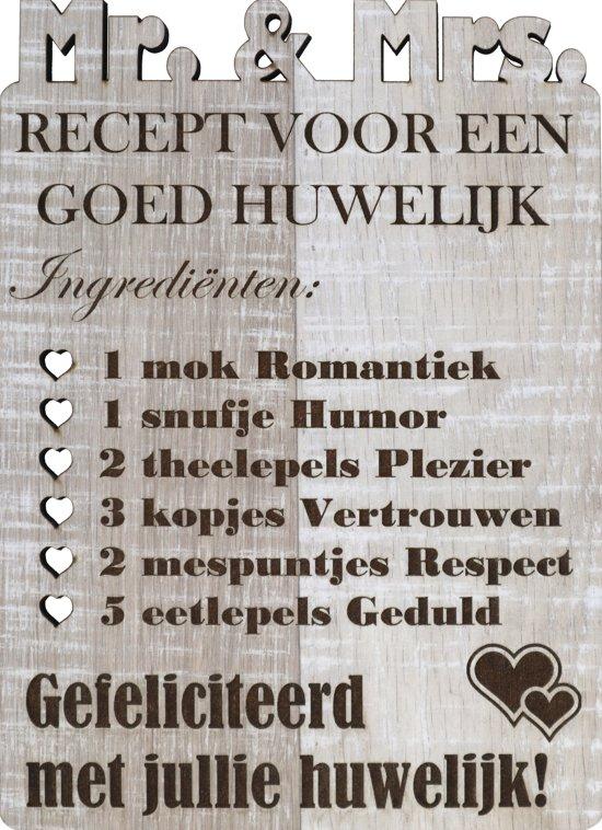Originele Houten Wenskaart Huwelijk Xl