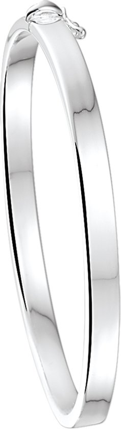 The Jewelry Collection Bangle Scharnier Vlakke Buis - 5 X 60 mm - Zilver