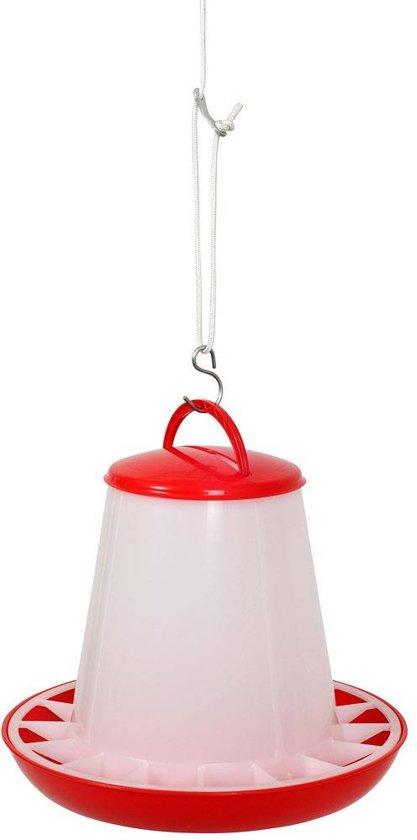 Beeztees plastic voersilo met deksel rood/wit 10 kg