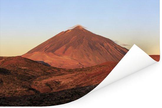 Oranje gloeiende Teide-vulkaan in het Nationaal park Teide in Spanje Poster 120x80 cm - Foto print op Poster (wanddecoratie woonkamer / slaapkamer)