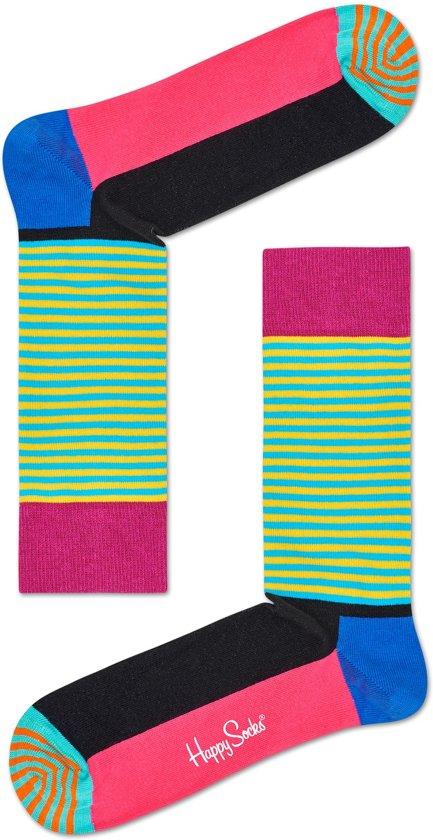 1e29ee07e58 bol.com | Happy Socks Half Stripe Sokken - Zwart/Roze/Groen - Maat 41-46