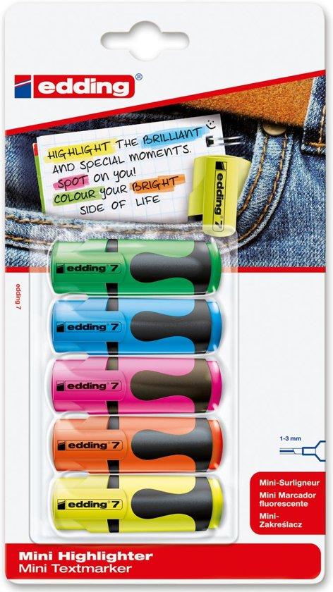 20x Edding mini markeerstift 7, blister met 5 stuks geassorteerde kleuren