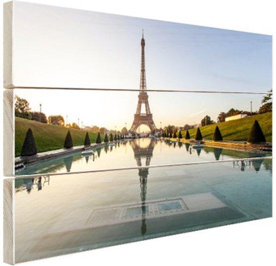 Eiffeltoren bij dag Parijs Hout 80x60 cm - Foto print op Hout (Wanddecoratie)