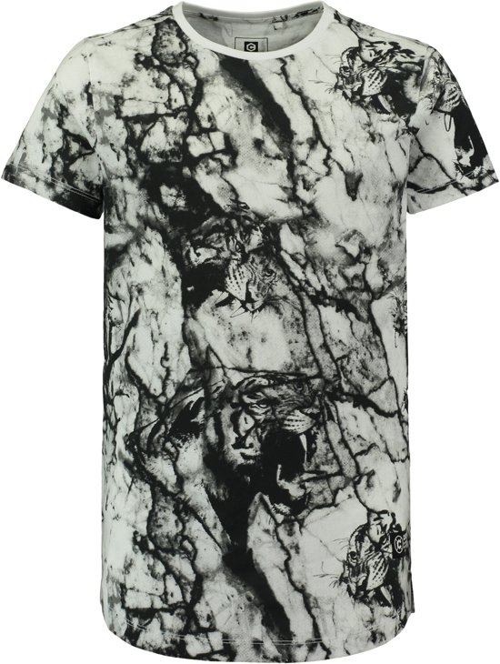 3ad9ab8f47a767 Coolcat Shirt Long length T-shirt met all over print - Wit - 170