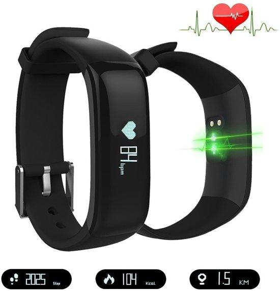 Activity Tracker SWTp1 Zwart met hartslagmeter | Stappenteller | Hardloop horloge I Slaapmonitor I Polsomtrek 14 cm tot 20 cm