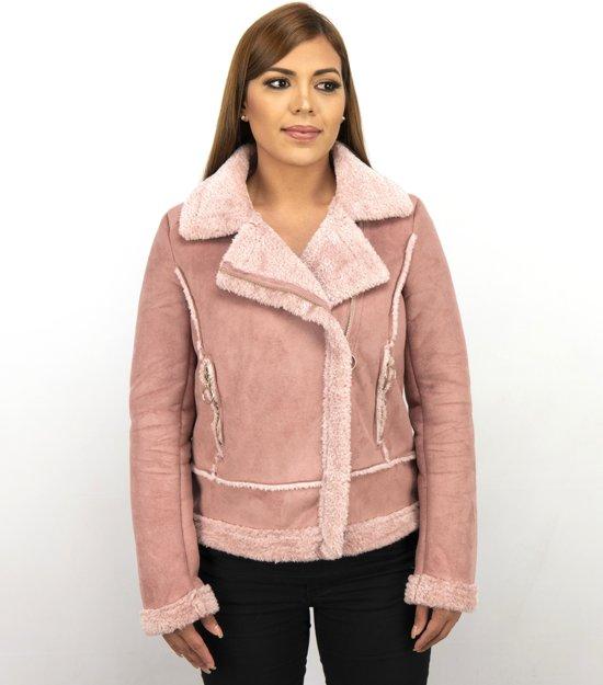 Z-design Bikerjack Dames Suede – Lammy Coat – Roze - Maat: XL