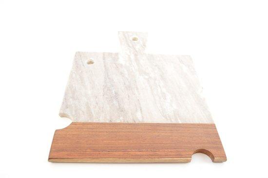 Bol marmeren snijplank met houten accent