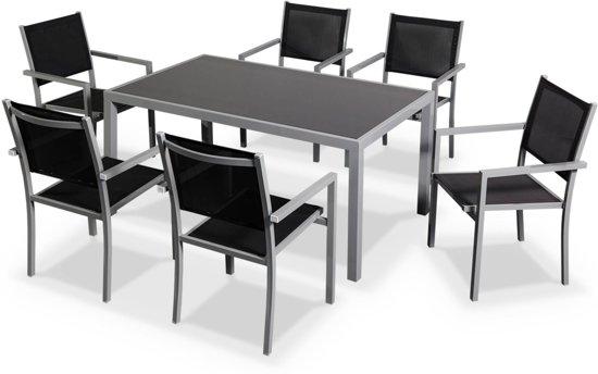 Hedendaags bol.com | Tuintafel set van 1 tafel en 6 stoelen van aluminium en GI-77