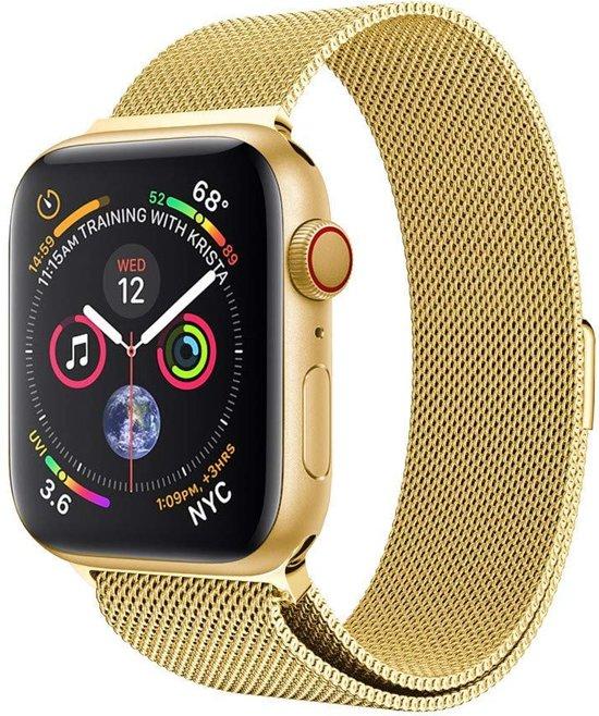 Milanese Loop Armband Voor Apple Watch Series 4 40 MM Iwatch Metalen Milanees Horloge Band - Goud Kleurig