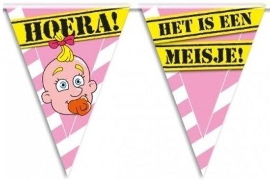 3x Geboorte vlaggenlijn / slinger meisje waarschuwingsbord 10mtr