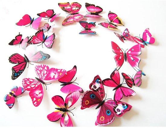 Stickers Voor Op De Muur Kinderkamer.3d Vlinders Muur Sticker Muurdecoratie Kinderkamer Babykamer Roze