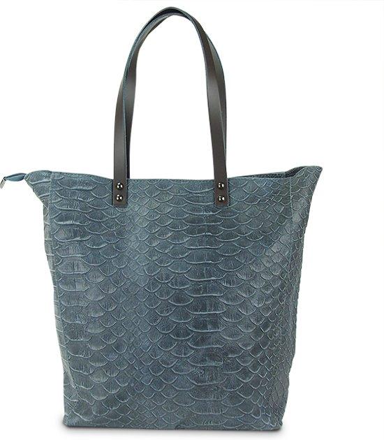 852ec4c0ddf bol.com | Dames Shopper Handtas - Grijs - Leer - Krokodil look