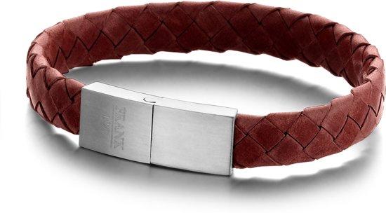 Frank 1967 Leather 7FB 0321 Leren armband met edelstalen sluiting - 21 cm - Rood