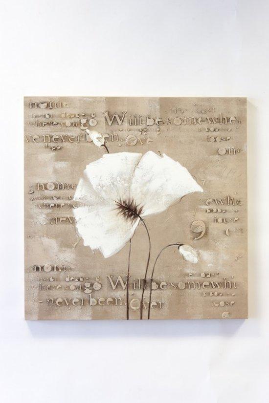 Olieverfschilderij op doek 40 bij 40 cm bloem zwart wit - Bruin taupe schilderij ...