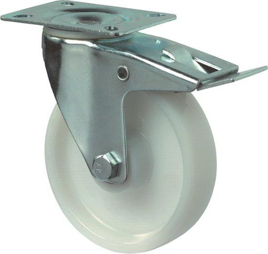 Kelfort Zwenkwiel polyamide wiel met rollager + rem, wit 125kg m/rem 100mm (Prijs per 2 stuks)