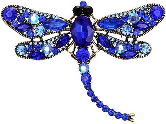 Fako Bijoux® - Broche - Libelle - XXL - 94x67mm - Blauw