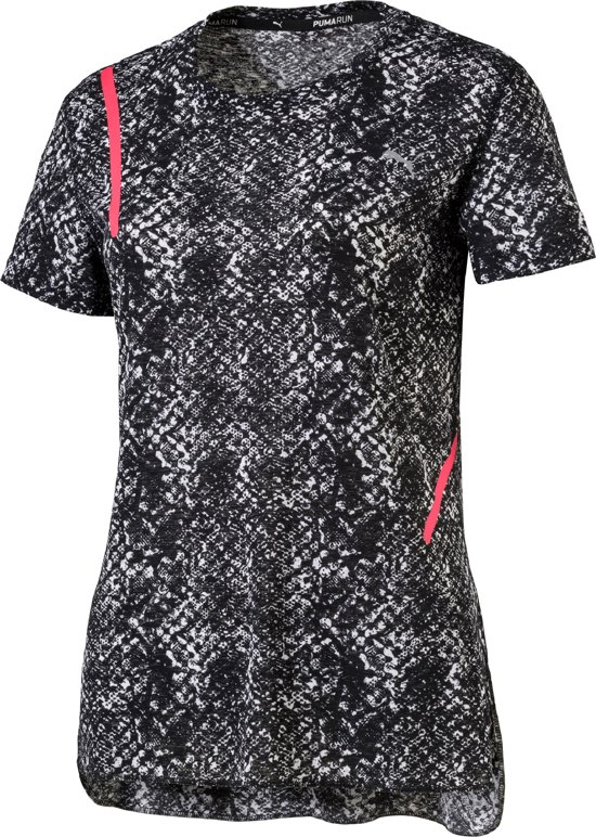 PUMA Graphic S/S Tee W Hardloopshirt Dames - white/Black Paradise Pink Euphoria