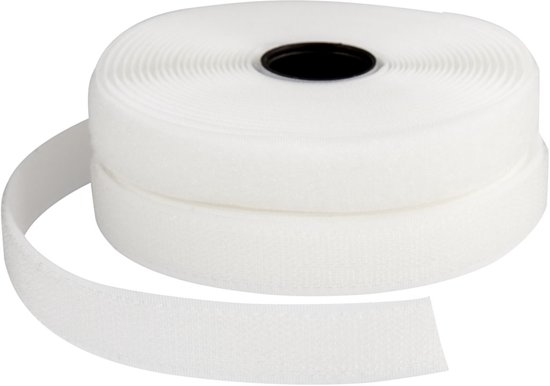 Klitteband haak en lussluiting, b: 20 mm, wit, 5 m